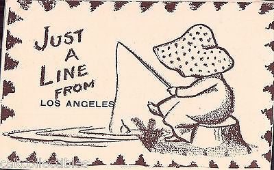 "Early Post Card-""Just A Line from Los Angeles""-Little Girl Fishing UDB - Cakcollectibles"