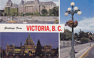 Greetings From Victoria B.C. - Canada Postcard - Cakcollectibles - 1