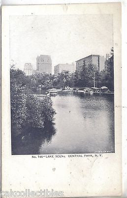 Lake Scene-Central Park-New York City UDB - Cakcollectibles