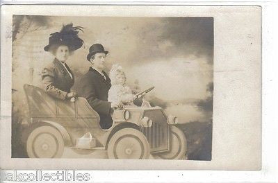 RPPC-Prop Photo-Man,Woman and Child in Old Car 1909 - Cakcollectibles - 1