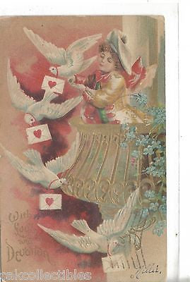 Valentine's Day Post Card-With Love and Devotion 1907 - Cakcollectibles - 1