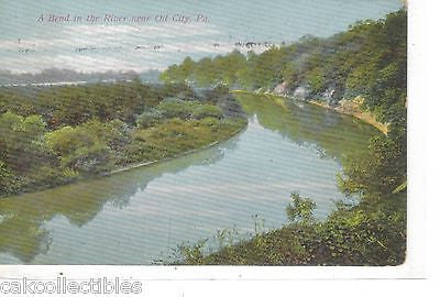 A Bend in The River near Oil City,Pennsylvania 1909 - Cakcollectibles
