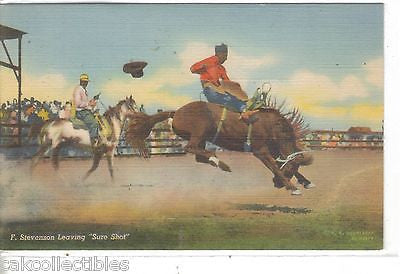 "F. Stevenson Leaving ""Sure Shot"" (Linen Post Card) - Cakcollectibles"