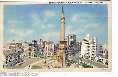 Bird's Eye View of Monument Circle-Indianapolis,Indiana 1942 - Cakcollectibles