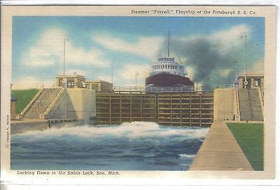 "Steamer ""Farrell"",Flagship of The Pittsburgh S.S. Co. -Soo Locks-Michigan - Cakcollectibles"