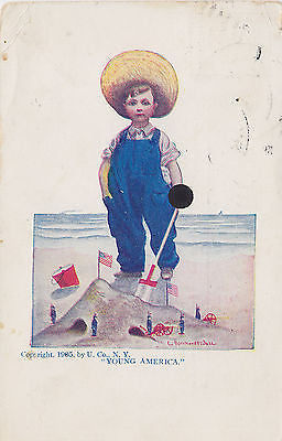 """Young America"" Boy On Beach Postcard - Cakcollectibles - 1"