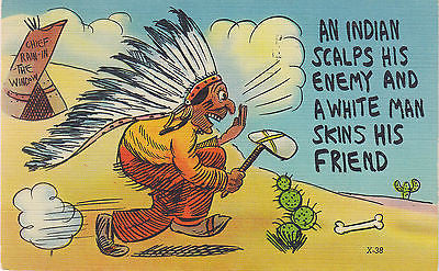 An Indian Scalps His Enemy Linen Comic Postcard - Cakcollectibles - 1
