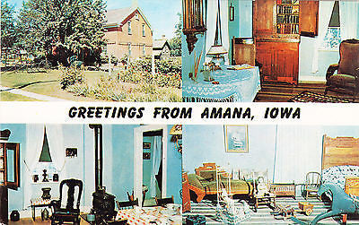 Greetings From Amana Iowa Postcard - Cakcollectibles