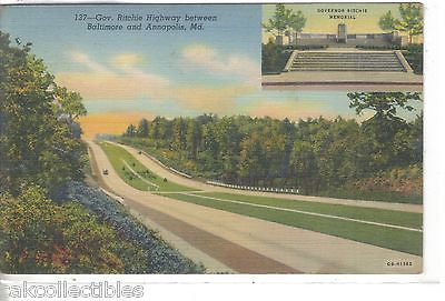 Gov. Ritchie Highway between Baltimore and Annapolis,Maryland 1942 - Cakcollectibles