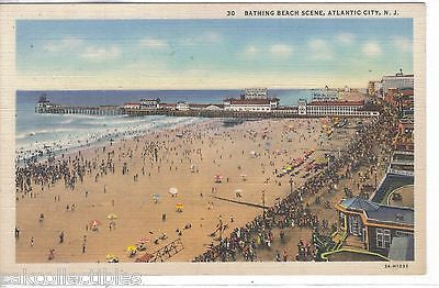 Bathing Beach Scene-Atlantic City,New Jersey - Cakcollectibles
