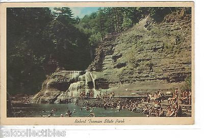 Swimming Pool and Lower Falls,Robert Treman State Park-New York 1964 - Cakcollectibles