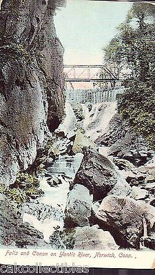 Falls and Canyon on Yantic River-Norwich,Connecicut UDB - Cakcollectibles