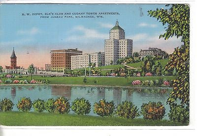 N.W. Depot,Elk's Club and Cudahy Tower Apts.-Milwaukee,Wisconsin - Cakcollectibles