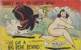 """Barely Able To Write Now"" Linen Comic Postcard - Cakcollectibles - 1"