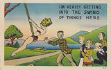 Getting Into The Swing Of Things Linen Comic Postcard - Cakcollectibles - 1
