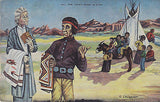 """All The Chief Does Is Fish"" Linen Comic Postcard - Cakcollectibles - 1"