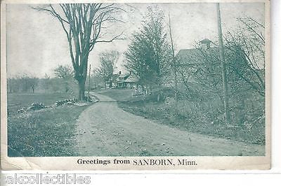 Greetings from Sanborn,Minnesota-Dirt Road Scene - Cakcollectibles - 1