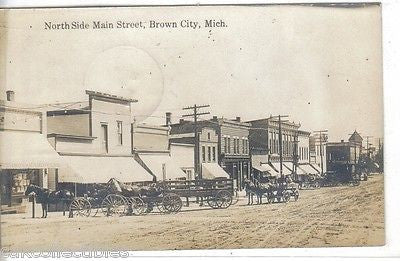 RPPC-North Side Main Street-Brown City,Michigan 1911 (Horse and Wagons) - Cakcollectibles - 1