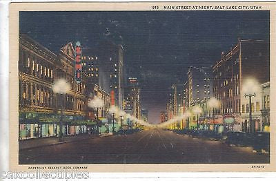 Main Street at Night-Salt Lake City,Utah (Linen Post Card) - Cakcollectibles