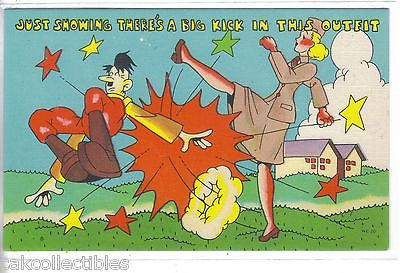 WW II Post Card-Military Woman Kicking Hitler - Cakcollectibles - 1