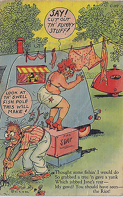 """Cut Out That Funny Stuff !"" Linen Comic Postcard - Cakcollectibles - 1"