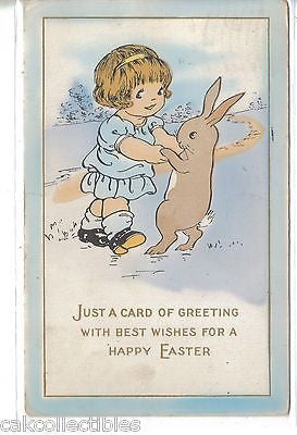 Easter Post Card-Girl Dancing with Rabbit 1916 - Cakcollectibles - 1