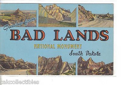 Greetings from Bad Lands National Monument-South Dakota 1949 - Cakcollectibles