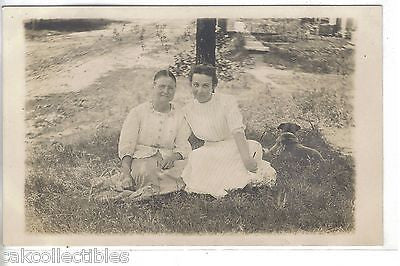 RPPC=2 Women with Dog - Cakcollectibles - 1