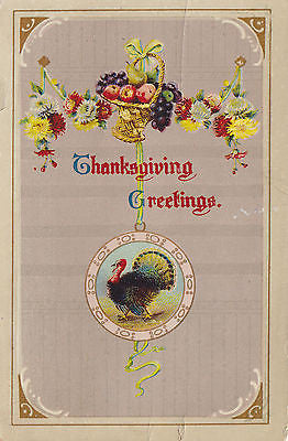 Thanksgiving Greetings Fruit Basket Flowers Turkey Holiday Postcard - Cakcollectibles - 1