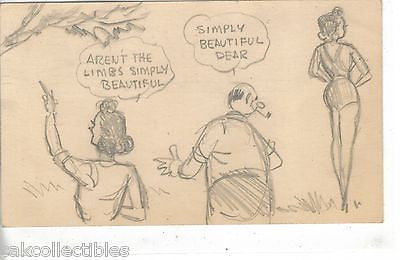 1 of A Kind Post Card-Hand Drawn 1951 - Cakcollectibles - 1