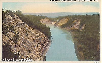 High Banks of Genesee River near Mt. Morris,New York - Cakcollectibles