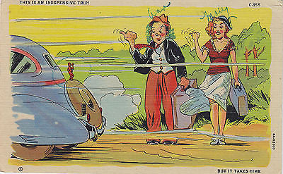 """ This Is An Inexpensive Trip"" ! Linen Comic Postcard - Cakcollectibles - 1"