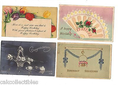 Lot of 4 Antique Greetings Post Cards-Lot 20 - Cakcollectibles - 1