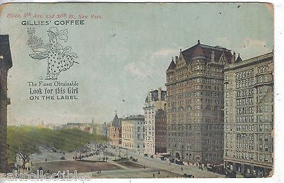 Plaza,5th Ave. and 59th Street-New York City (Gillies' Coffee Ad) - Cakcollectibles