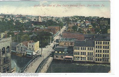 Bird's Eye View looking South-New Castle,Pennsylvania - Cakcollectibles