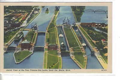 Aerial View of The Four Famous Soo Locks-Sault Ste. Marie,Michigan - Cakcollectibles