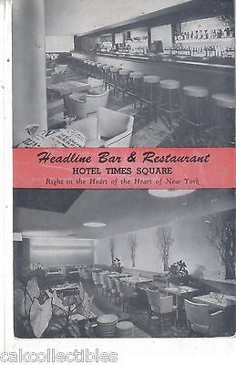 Headline Bar and Restaurant,Hotel Times Square-New York City - Cakcollectibles - 1