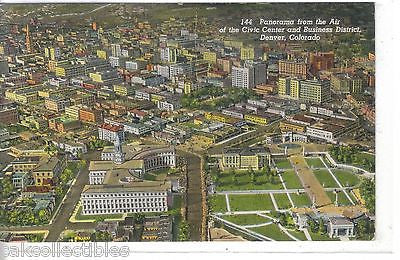 Panorama from The Air of The Civic Center & Business District-Denver,Colo. 1951 - Cakcollectibles