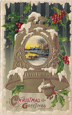 """ Christmas greetings"" Gold Bell-Holly Leaves John Winsch Postcard - Cakcollectibles - 1"
