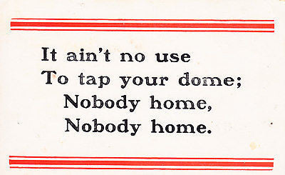 It Ain't No Use To Tap Your Dome Comic Postcard - Cakcollectibles