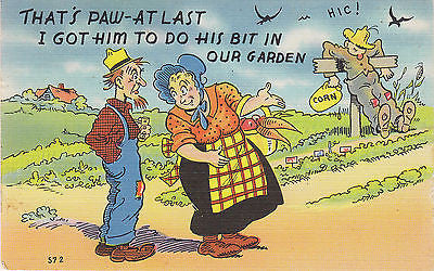 """That's Paw"" Linen Comic Postcard - Cakcollectibles - 1"