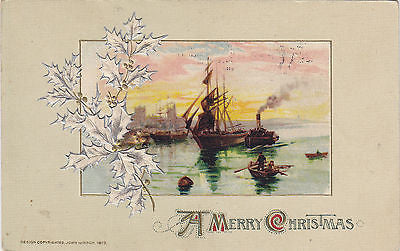 A Merry Christmas Holly Branch Embossed John Winsch Postcard - Cakcollectibles