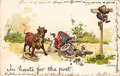 In Haste For The Post Comic Postcard - Cakcollectibles