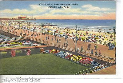 Vista of Landscape and Ocean-Atlantic City,New Jersey - Cakcollectibles