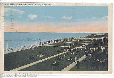 Beautiful Lawn and Beach-Ocean View,Virginia 1926 - Cakcollectibles