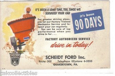 Service Reminder Post Card-Scheidt Ford,Inc.-Quakertown,Pennsylvania 1957 - Cakcollectibles - 1