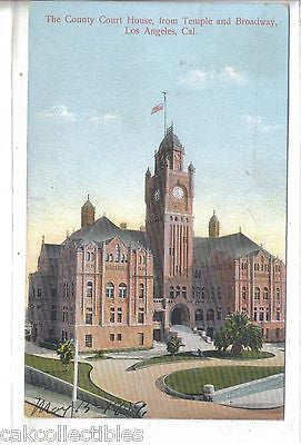 The County Court House from Temple and Broadway-Los Angeles,California 1909 - Cakcollectibles
