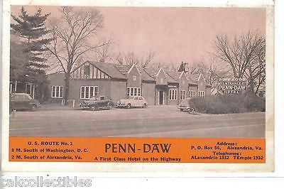 Penn-Daw Hotel-Alexandria,Virginia - Cakcollectibles - 1