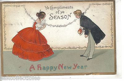Ye Compliments of Ye Season-A Happy New Year -Clappsaddle - Cakcollectibles - 1