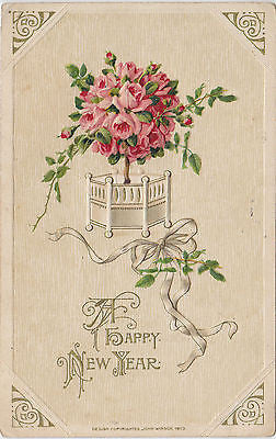 A Happy New Year Embossed John Winsch Postcard - Cakcollectibles